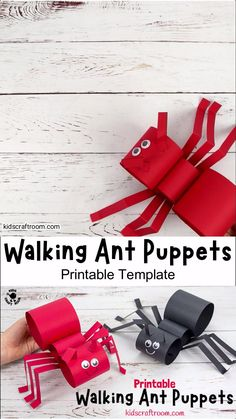 These fun ANT PUPPETS are sure to delight kids and inspire lots of imaginative play. This walking ant craft is easy to make with the printable template and nice and chunky for little hands. Make your paper ant craft move by gently twisting your wrist from side to side. Such a fun activity for Summer and to go with bug, insect and minibeast study units. #kidscraftroom #kidscrafts #antcrafts #ants #puppets #puppetcrafts #papercrafts #printablecrafts