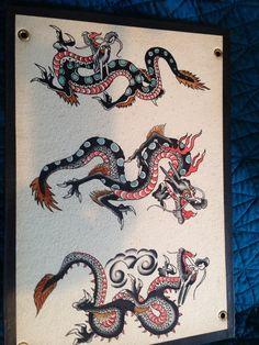 Dragon Tattoo Flash, Tattoo Flash Art, Flash Tattoos, Sleeve Tattoos, Wing Tattoos, Dragon Tattoos, Traditional Tattoo Old School, Traditional Tattoo Design, Traditional Tattoo Flash