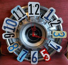 Vintage Chevy License Plate Hubcap Clock Garage Clock by dables