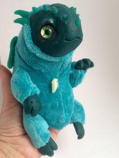 MONSTER STUFFED ANIMAL Baby Viridian Dragon Ooak by FoxyMocksy
