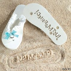 """Just Married"" Flip Flops Stamp Your Message in the Sand! (7/8) by Jeirles Wholesale, http://www.amazon.com/dp/B004AS8QX6/ref=cm_sw_r_pi_dp_r2Thrb0TBWFBS"