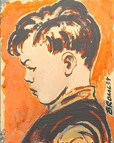 "DAVID BROMLEY ""Boy"" Original Painting on Board, Signed, 25cm x 20cm"