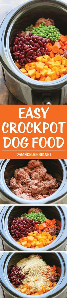 Pets Care - Easy Crockpot Dog Food - DIY dog food can easily be made right in the slow cooker. Its healthier and cheaper than store-bought, and its freezer-friendly! The way cats and dogs eat is related to their animal behavior and their different domestication process. #crockpotcatfood #kittencarediy #catcarediy