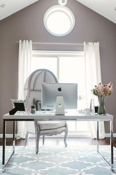 Gorgeous gray office: http://www.stylemepretty.com/living/2015/09/18/a-designers-chic-home-office/ | Photography: Renee Hollingshead - http://www.reneehollingshead.com/