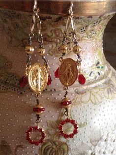 EARRINGS - Red MADONNA Chandelier Virgin Mary Ruby Religious Vintage Assemblage Handmade Catholic Religious Talisman by TheFrenchRoseJewelry $21