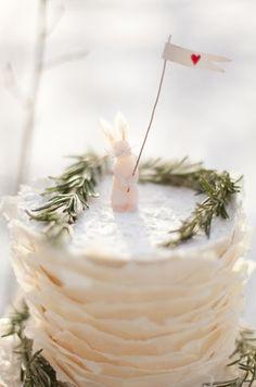 Bunny Wedding Cake Topper Red Heart Flag