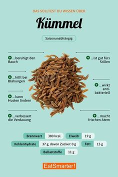 You should know about caraway seeds eatsmarter.de # cumin # nutrition You should know about caraway seeds eatsmarter. Caraway Seeds, Fat Burning Drinks, Food Facts, Diet And Nutrition, Nutrition Plans, Superfood, Health Tips, Health Benefits, Healthy Lifestyle
