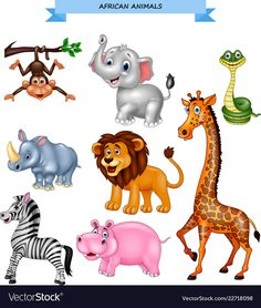 Cartoon african animals collection vector image on VectorStock Animal Pictures For Kids, Wild Animals Pictures, Animal Crafts For Kids, Animals Images, Rare Animals, Jungle Animals, Animals And Pets, Wild Animals Drawing, Animal Drawings