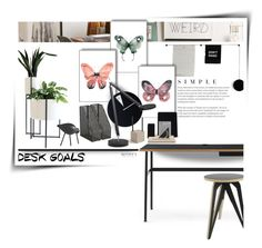 """""""Desk Goals"""" by kat1973 ❤ liked on Polyvore featuring interior, interiors, interior design, home, home decor, interior decorating, Menu, Urban Outfitters, Normann Copenhagen and OTTO"""