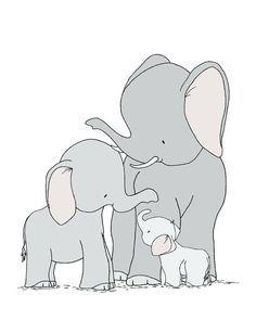 Elephant Nursery Art -- One Big Happy Family -- Elephant Daddy, Mommy And Baby --  Nursery Art Print -- Children Art, Kids Wall Art