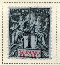 FRENCH INDIA 1892 early classic Tablet type