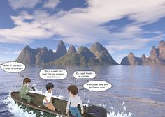 ComiPo - Boat Ride  |  comipo, manga, anime, ocean, water, boat, motorboat, ride, waves, sea, island, mountains, volcano, girl, girls, teacher, camera, humor, shadow, adventure, tour, nature, scene, digital art, cartoon, story