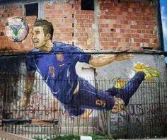 Van Persie / World Cup - street art at a favela in Rio de Janeiro