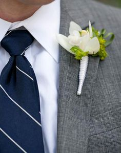 grey tux matched with navy and green perfection