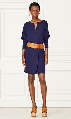 Elsa Stretch Wool Dress - Collection Apparel Short Dresses - RalphLauren.com