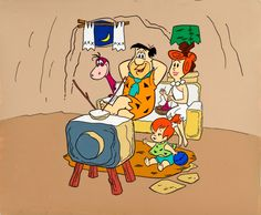 The Flintstones Publicity Cel (Hanna-Barbera) Flintstone Family, Fred And Wilma Flintstone, Flintstone Cartoon, Classic Cartoon Characters, Cartoon Tv, Classic Cartoons, 1980 Cartoons, Good Cartoons, Retro Cartoons