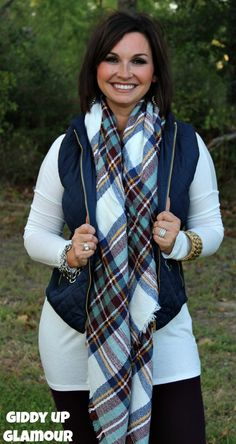 Love Like This Navy Quilted Puffer Vest with Brown Piping www.gugonline.com $32.95