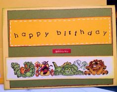 Boy Happy birthday card layers with envelope by buttonsandbottles, $2.75