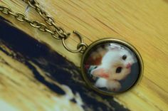 Cute Baby Cat Necklace Glass Tile Pendant Necklace Glass Tile Charm Necklace Jewelry Girl Necklace Women Necklace by SherryJewelry on Etsy, $5.00