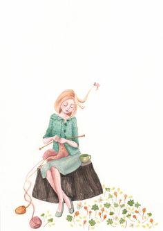 Illustration by Caitriona Sweeney Knitting Quotes, Knitting Humor, Knitting Yarn, Knitting Projects, Knitting Patterns, Start Knitting, Illustrations, Illustration Art, Knit Art