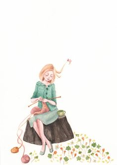 What I wish I looked like while knitting... Catriona Sweeney -- lovely art!