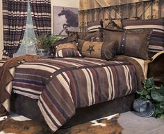 Old West Stripe by Carstens Lodge Bedding cowboy theme bedrooms - rustic western style decorating ideas - rustic decor - cowboy decor - Cowboy Bedding Western bedroom decor - horse decor - cowboy wall murals horse wall murals Rustic Bedding Sets, Western Bedding Sets, Best Bedding Sets, Queen Bedding Sets, Crib Bedding Sets, Comforter Sets, Western Quilts, Country Bedding, Bedding Decor