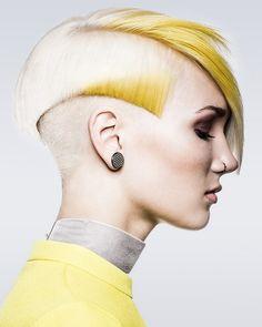 White undercut hair with yellow colour-blocks