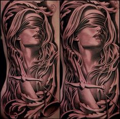 Beautiful tattoo. Sexiest Lady Justice ever.