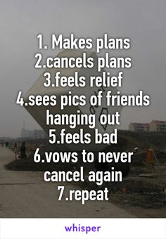 1. Makes plans 2.cancels plans 3.feels relief 4.sees pics of friends hanging out 5.feels bad 6.vows to never cancel again 7.repeat
