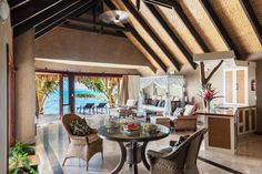 Beachfront Villa main living space.
