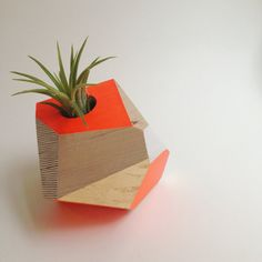 Geometric Neon Orange Handpainted Wooden Planter by FlaneursPocket