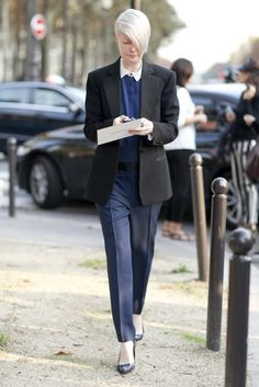 Kate Lanphear suits up #streetstyle #PFW