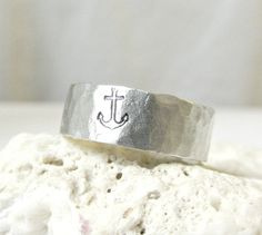Mens Anchor Ring Hammered Silver  Band Ring by EagleRowe on Etsy, $19.50