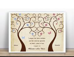 Twins Thumbprint Tree Guest Book for Baby Shower by ByYolanda