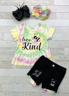 """""""Bee Kind"""" spiral tie dye fringe shirt & black cutoff distressed denim shorts with coordinating faux peek-a-boo pockets. #bees #summer #girlsoutfits #tiedye #trendy Trendy Outfits, Cute Outfits, Fringe Shirt, Spiral Tie Dye, Cute Baby Girl Outfits, Distressed Denim Shorts, Bees, Pockets, School"""