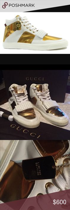 Gucci LIMITED EDITION High Top Sneakers 376195 High Top Gold/White (9077) Limited Edition. AUTHENTIC comes with dust bag, shoe box, new pair of shoe laces. More pictures upon request. Gucci Shoes Sneakers