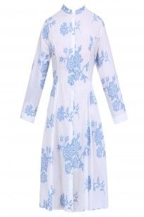 Ivory and Blue Rose Embroidered Majorca Summer Dress