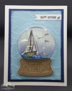 Stamping in Columbus, GA: Sailing Home, September 2019 Stamp-a-Stack card Masculine Birthday Cards, Masculine Cards, Stampin Up Christmas, Christmas Cards, Slider Card, Nautical Cards, Beach Cards, Wink Of Stella, Fancy Fold Cards
