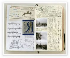moleskine scrapbook. I would buy somebody's used/filled scrapbook if it looked this interesting and they had traveled around the world with it.