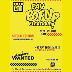 Please share!!! IG@thetshirtlady is hosting the 3RD IG@eavpopupfleatique next #Saturday , 9.23.17 11AM at @thegalleryeav . #Indoor / #Outdoor IG@PEACEOFJUNK will be there! #savethedate #popup  #fun #metroatlanta #atl  #indiginous  #artist #boutique #gallery #handmade #recycle #repurpose #blackowned #vendor #smallbiz #smallbusiness #music #supportblackbusiness #Art #SocialJustice #Humanity #Youth ♥ Continue to be #dope and work through your excellence ! #Namaste