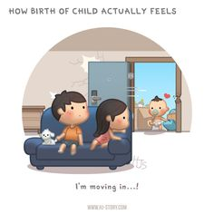 Having baby chase is a wonderful and loving experience and better everyday. However, I think this is how it really felt like. A little human just appeared out of no where suddenly and started living. Cute Couple Cartoon, Chibi Couple, Cute Love Cartoons, Cute Cartoon Characters, Cute Love Stories, Love Story, True Stories, Ah O Amor, Hj Story