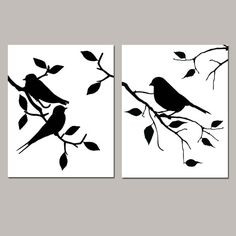 Birds of a Feather Duo - Set of Two Modern Bird Prints - Kitchen, Bathroom, Nursery - Choose Your Colors - Shown in Black and White Vogel Silhouette, Bird Silhouette, Canvas Silhouette, Canvas Artwork, Canvas Art Prints, Doodle Drawing, Bird Stencil, Damask Stencil, Stencil Patterns
