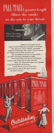 "Description: 1949 PALL MALL vintage print advertisement ""greater length filters the smoke on the way to your throat""""Filters the smoke and makes it mild! Pall Mall Famous Cigarettes -- good to look at, good to feel, good to taste, and good to smoke."" Size: The dimensions of the half-page advertisement are approximately 5.5 inches x 14 inches (14cm x 36cm). Condition: This original vintage advertisement is in Very Good Condition unless otherwise noted ()."