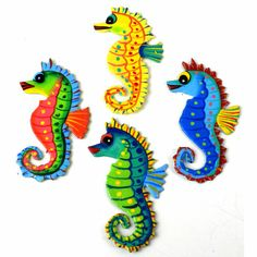 Zee Bee Market LLC - 3-inch Painted Seahorse Metal Magnet