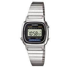 Casio LA670WEA-1EF. Cronómetro - 1/10 seg. - 1 hora. 7 temporizadores programables (hasta 30 min). Alarma diaria. Calendario automático. Caja de resina. Correa de acero inoxidable. Cierre ajustable. 2 años - 1 pila.