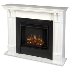 Keep warm while adding to your decor with this portable white electric fireplace. The fireplace features handsome white pillars with curved supports and includes a remote control, programmable thermostat, timer functions, and brightness settings.