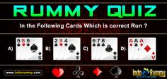 Rummy Quiz  In the following cards which is correct Run??  Play and enjoy the #rummy game only at www.indorummy.com