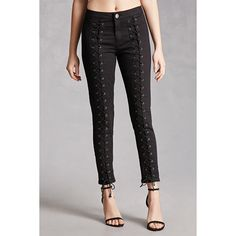 Forever21 Pixie and Diamond Lace-Up Jeans (3.880 RUB) ❤ liked on Polyvore featuring jeans, forever 21, diamond jeans, lace up jeans, forever 21 jeans and lace up skinny jeans