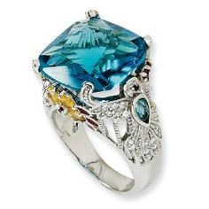 Sterling Silver Enameled Simulated Blue Topaz CZ Hummingbird Ring - Size 7 - JewelryWeb JewelryWeb. $145.20