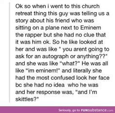 Oh gosh i love eminem but this is just sooooo funny haha Stupid Funny, The Funny, Hilarious, Funny Stuff, Random Stuff, Funny Things, Funny Quotes, Funny Memes, Jokes